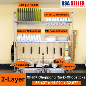 2 Tier Over the Sink Rack Drying Drain Storage Holder Plate Dish Stainless Steel $42.68