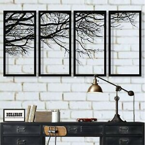 Tree of Life 4 Pieces Metal Wall Art Metal Tree Wall Art Tree Sign 4 Panels $139.90