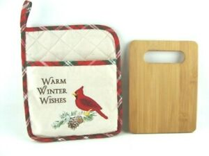 Bamboo Cutting Board with Pot Holder Baking Cooking Christmas Cardinal Pine Tree