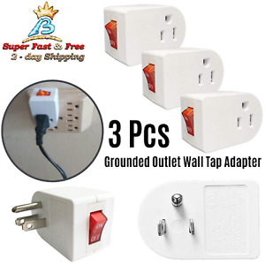 Electrical Grounded Outlet Wall Tap Adapter On Off Power Switch Plug Prong 3 Pcs