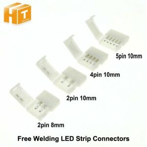 LED Strip Connectors 2pin 8mm / 10mm 4pin 5pin Free Welding Connector 5pcs/lot.