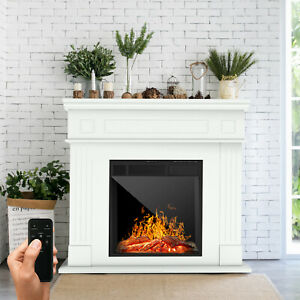 Electric Fireplace Heater Wood Mantel Cabinet LED Logs w/ Remote Control White