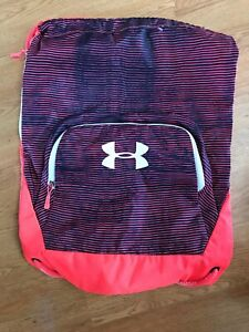 EUC Under Armour Cinch Backpack Neon Pink navyblue GREAT SPORTS BAG! $9.99