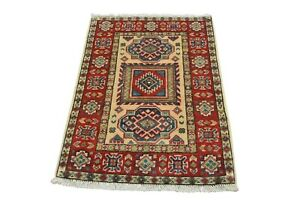 Tribal Kazak Rug, 2'x3', Ivory/Red, Hand-Knotted Wool Pile