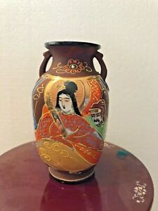 Small Satsuma Immortal Goddess Vase Meiji