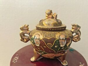 Satsuma Immortals Censer Jar Meiji