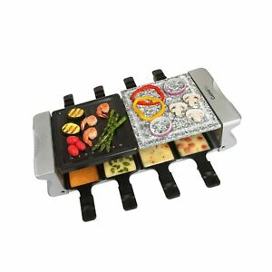 Dual Cheese Raclette Table Grill w Non-stick Grilling Plate and Cooking Stone...