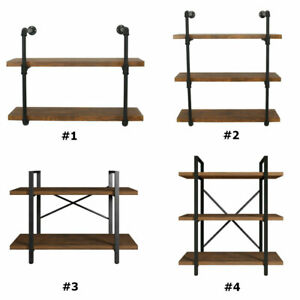 Bookshelf 2 3 Tier Furniture Stand Rustic Pipe Shelving Unit Industrial Bracket