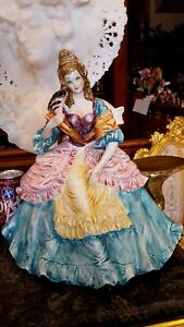 HP LARGE Vntg 14quot;T Woman Lady FRENCH CHAIR Figurine amp; Cornucopia Table ITALY $155.00