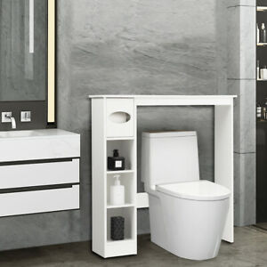 Wooden Toilet Cabinet Bathroom Storage Shelf Rack Space Saver w/ Paper Holder
