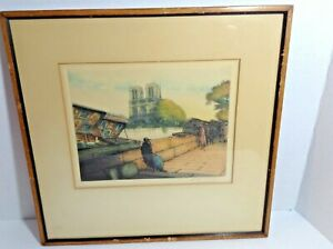 Early 1900s Victor Valery Signed Print Colored Etching Notre Dame Seine River C $74.24