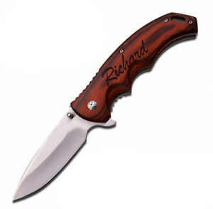 Engraved Personalized Pocket Knife For Hunting Camping for Dad Boyfriend