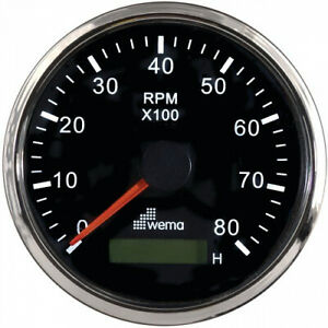 NEW OEM WEMA Tachometer Gauge 8000 RPM w/ Hour Meter 12/24V Black SS #WM-110686