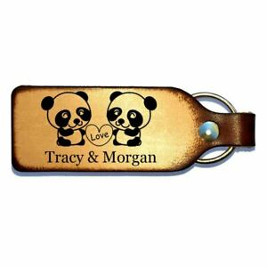 Panda Love Leather Engraved Couples Keychain