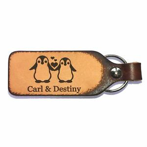 Penguin Love Leather Engraved Couples Keychain