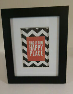 THIS IS OUR HAPPY PLACE  Framed Print Black White Chevron 10