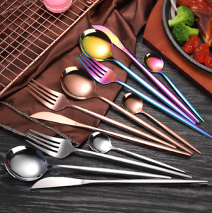 4 Pcs/Set Stainless Steel Cutlery Gold Plated Dinnerware Knife Fork Spoon Kit