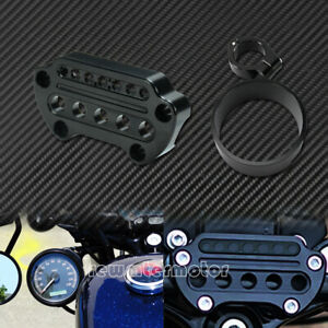 Front Indicator Handlebar Clamp Cover  Side Speedometer Bracket Fit For Harley