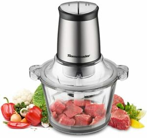 Electric Food Chopper, 8-Cup Food Processor by Homeleader, 2L BPA-Free Glass