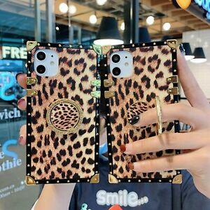 Leopard Luxury Metal Square Bling Diamond Ring Stand Case Cover Skin For Samsung $7.99