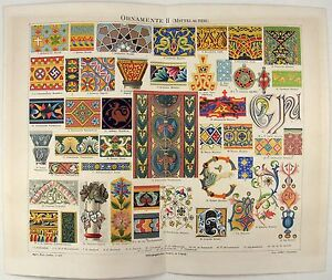 Ornamentation from the Middle Ages - Original 1888 Chromolithograph by Meyers $18.00