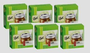 6 Boxes/12 BALL Regular Mouth Dome Lids For Mason Jars Canning Preserving 31000