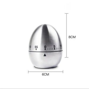 Stainless Steel Egg Shape Timer 60 Minutes Countdown Alarm Kitchen Cooking Timer