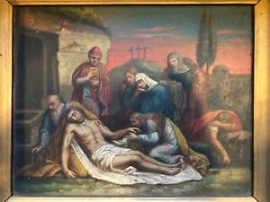 Antique Painting of Jesus After Crucified and His Disciples $295.00