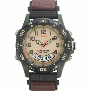 Timex T45181 Men#x27;s Expedition Combo Brown Watch Indiglo Chronograph