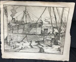 LARGE Signed ca.1921 San Francisco Bay Wharf Etching SS MANDARIN by W. H. WILKE