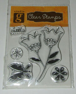 Flowers Clear Stamps Set of 5 New Butterfly Hello For Use With Acrylic Block