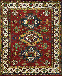 Tribal Indo Kazak Rug, 8'x10', Red/Ivory, Hand-Knotted Wool Pile