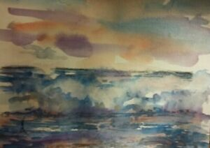 Original Seascape 9x12 watercolor Hand Painting and Signed $16.50