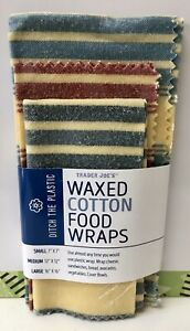 Trader Joe's Waxed Cotton Food Wraps Washable Reusable 3 Sizes *Free Fast Ship