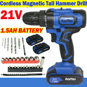 Cordless Drills w/ Hammer Action & Cordless Screwdrivers Kit Lithium-Ion Battery