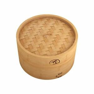 8 Inch Natural Bamboo Dumpling Steamer 2 Tiers Basket with Lid Includes 50 Wax