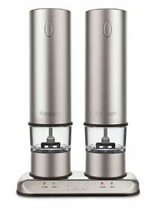 Cuisinart® Rechargeable Electric Salt and Pepper Mill Grinder set in Brushed Sta