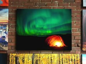 Winter Camping with Northern Lights Canvas Print Art Wall Decor