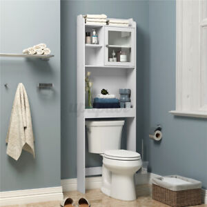 Bathroom Over The Toilet Space Saver Wood Organization Storage Shelf Cabinet US