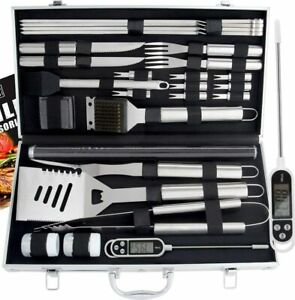 ROMANTICIST 27pc BBQ Accessories Set with Thermometer The Very Best Grill Gift