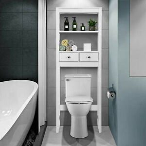 Bathroom Over The Toilet Space Saver Storage Cabinet Shelf Organizer With Drawer