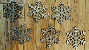 Hanging Wooden Snowflake Christmas Tree Ornaments Set Of 6