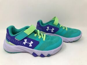 New! Toddler Girls' UA Primed AC Running Shoes Teal Purple SZ 12 1285098 369 A49 $31.49