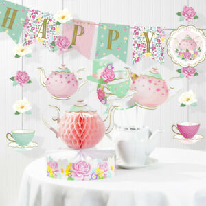 Floral Tea Party Birthday Decorations Kit