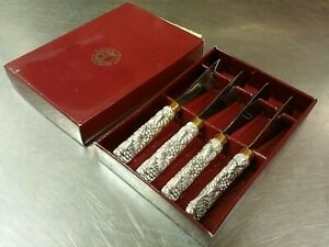 Set of 4 Arthur Court Designs Cast Grape Handle Cheese Knife Spreaders in Box