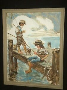 Signed Original Oil Painting 2 Children Fishing On The Dock Nautical Art Vintage