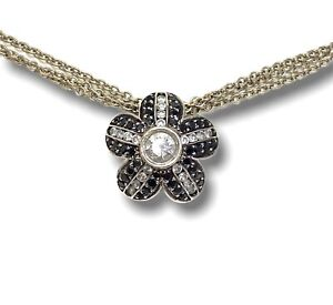 Norman Covan 18k White Gold 3 D Flower Clear and Black Diamond Pendant Necklace