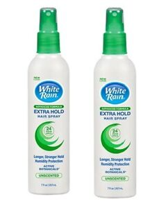 2 Pack White Rain Extra Hold Hair Spray Unscented 7 Oz Each