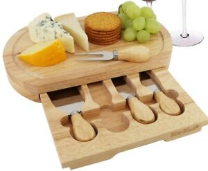 Wooden Cheese Cutting Board Serving Tray Pull Out Utensil Holder Oak, 12x7