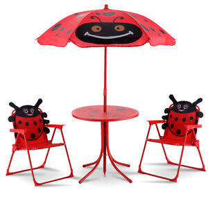 Kids Outdoor Patio Set Table And 2 Folding Chairs w Umbrella LadyBug style
